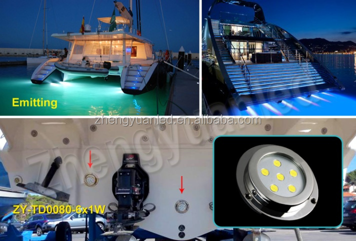 IP68 100% waterproof stainless boat bathroom jet light Underwater LED Marine Light 6W