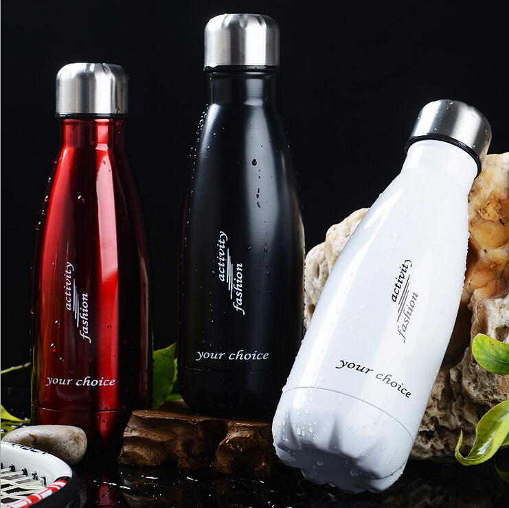 17 OZ/500 ML Food Grade Double Wall Vacuum Flask Insulated 18/8 Stainless Steel Swell Cola Shaped Water Bottle