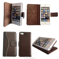 Top Genuine Leather Folio With Stand Case Cover for iPhone 5s