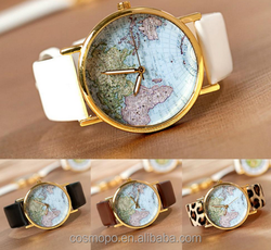 2016 New Women Men Vintage Earth World Map Watch Alloy Analog Wrist Watches