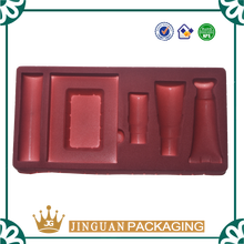 Decorative plastic trays, red flocked/flocking blister tray for cosmetics