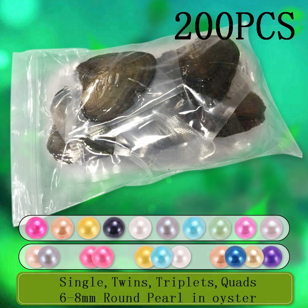 Free shipping DHL 200pcs 6-8mm Single, Twins, Triplets and <strong>Quads</strong> Round Pearls in Frenshwater oysters individually