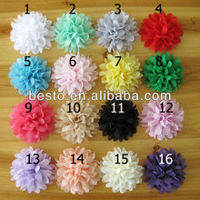 CF0786 decorative artificial custom China colorful chiffon tulle tissue fabric flower for skirts