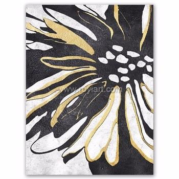 Handmade modern abstract black and white flower oil painting on handmade modern abstract black and white flower oil painting on canvas mightylinksfo Choice Image