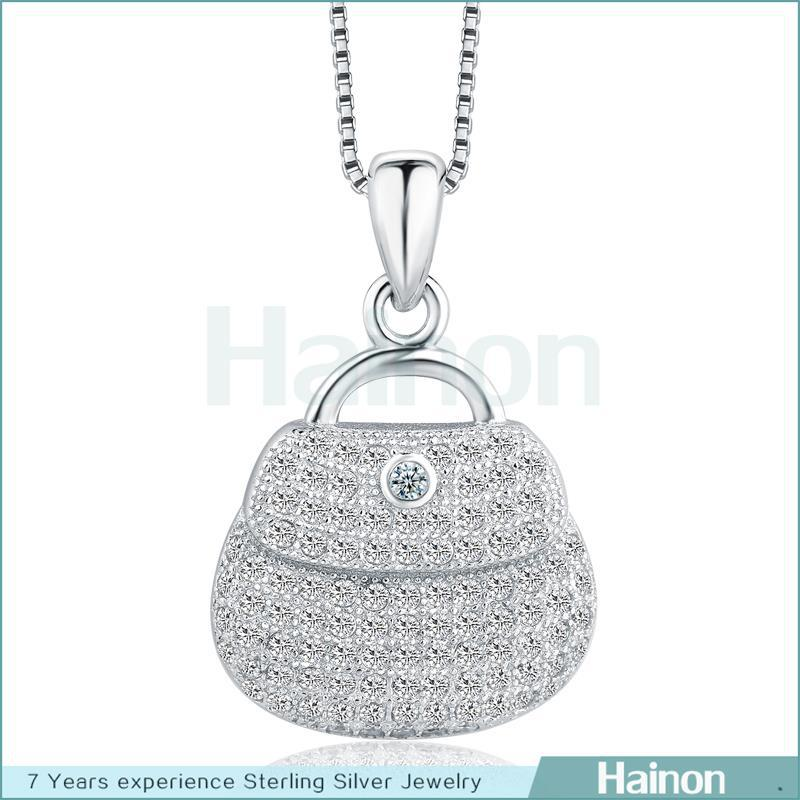 China Wholesale rhodium filled sterling silver bag Pendant Necklace