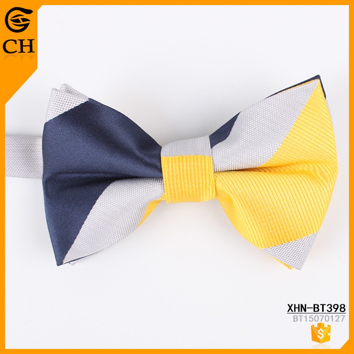100% polyester navy and yellow stripe bow tie for kids