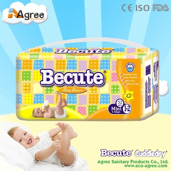 high absorb and breathable cloth-like backsheet disposable sleepy baby diaper