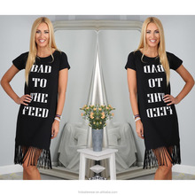 Black Loose Ladies Letter Printed Long Cotton Casual T-shirt Dress MK-A6140