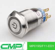 CMP metal illuminated IP67 latching push button switches with symbol