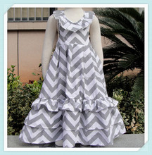 White Grey Chevron Zig Zag Backless Maxi Summer Beach Date Dress Cute Baby Dress For Summer Fancy Chevron Dress For Baby Girls