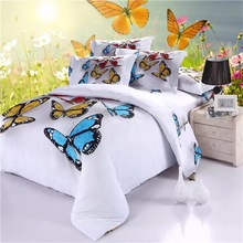 New Arrival 5D Oil Painting Butterfly Printed 100% Cotton Bedding Set