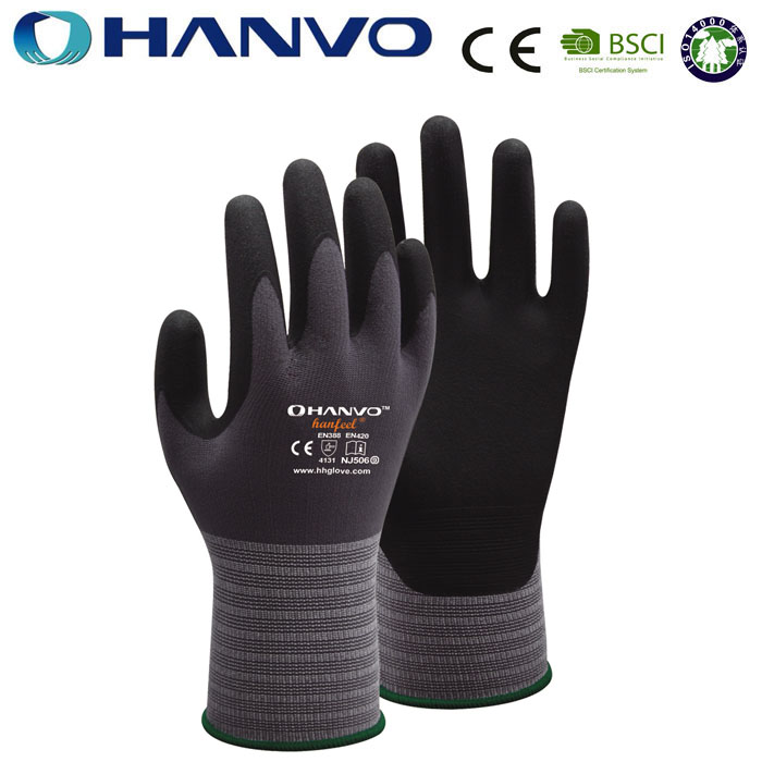 Wholesale HANVO Brand micro foam nitrile coated working hand safety <strong>glove</strong>