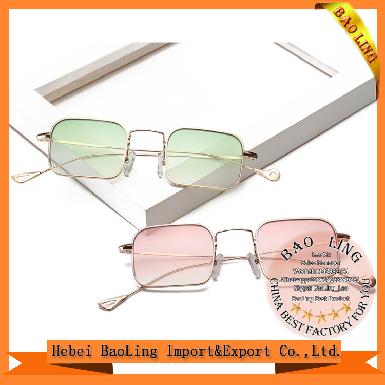 sun glasses hot sale women little square sunglasses custom metal logo and sunglass factory 770