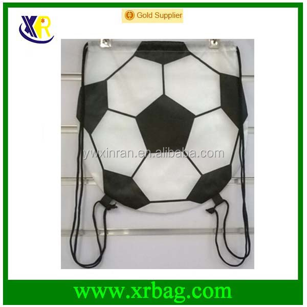 Factory custom football shaped nylon designed drawstring bag