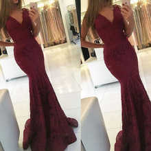 lace evening dresses mermaid v neck backless sexy burgundy evening gowns long prom party dresses cheap formal dress