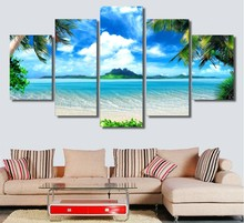 5 Pieces Canvas Prints Beach blue palm trees Painting Wall Art Anime Home Decor Panels Poster Modular Pictures For Living Room