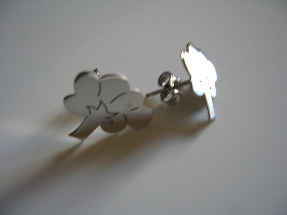 OR 0172 tree, heart, quatrefoil, apple, star earrings 925 silver made in italy