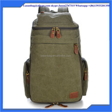 Army Green Vintage Waxed High Capacity Canvas Hiking Backpack Day Pack Waterproof 40L Traveling Backpack