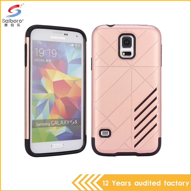 High Quality Rose gold color tpu+pc armor cellphone cover for samsung galaxy s5 case