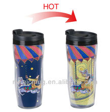Double Wall PS Microwaveable Plastic Travel Mug With PP Lid