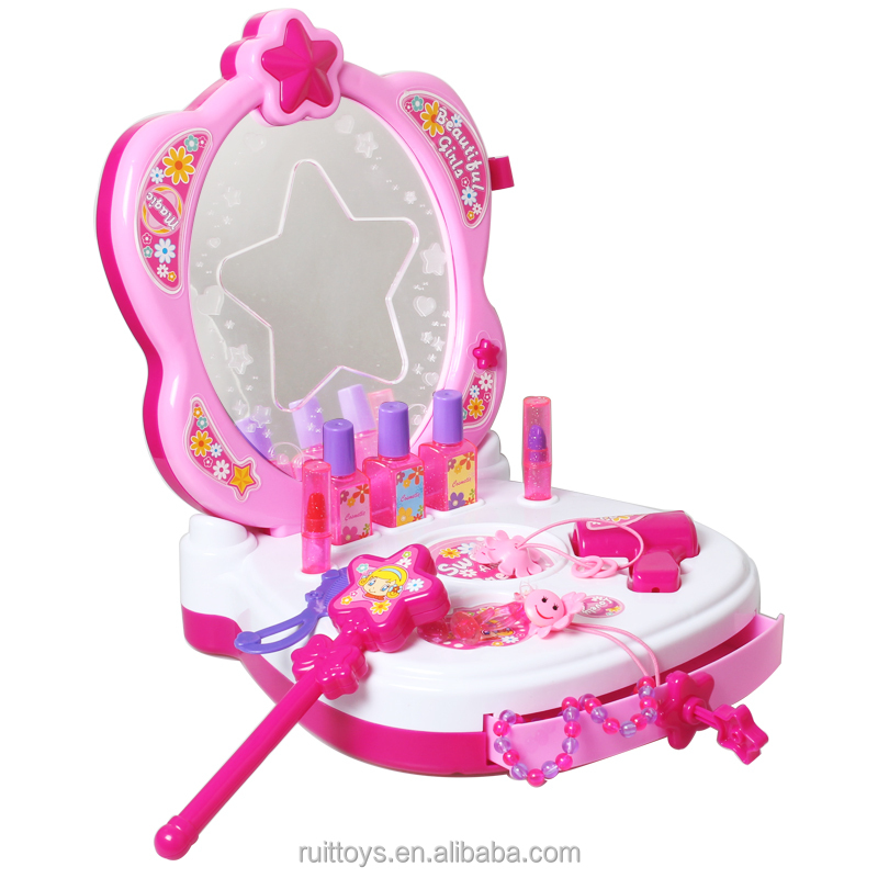 Girl Best Gift Pretend Toys Dressing Table Magic Mirror Toy with sound & light