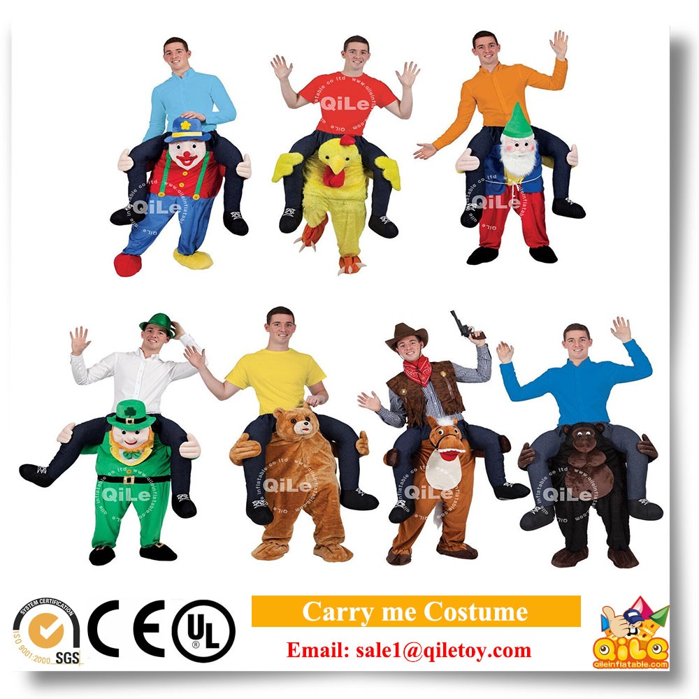 Funny party city carry me guy rid on adult costumes for fat people mascot