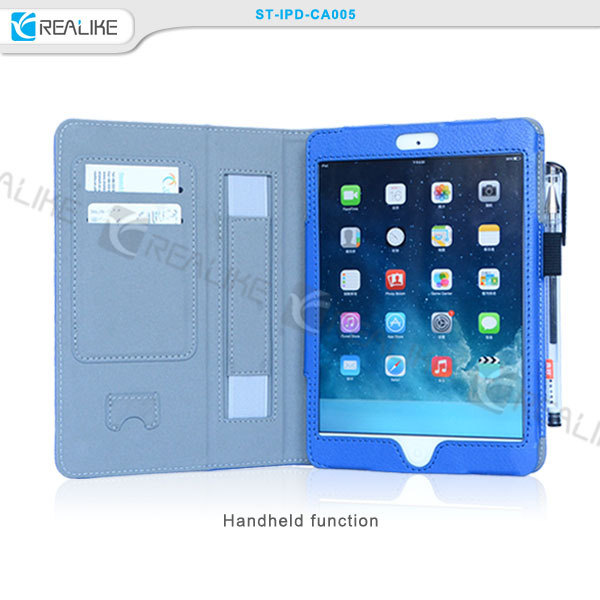 Top quality pu leather custom brand logo,tablet case leather cover for apple ipad air