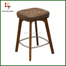 Vintage Style Chinese Wood Furniture PU Bar Counter Stools With Footrest