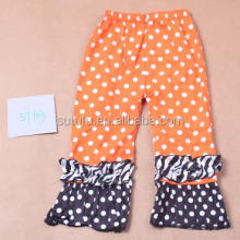 Fashion Girls orange with white softtextile icing baby leggings ruffle pants
