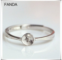 Elegant simple design adjustable ring base 925 silver gemstone ring finding
