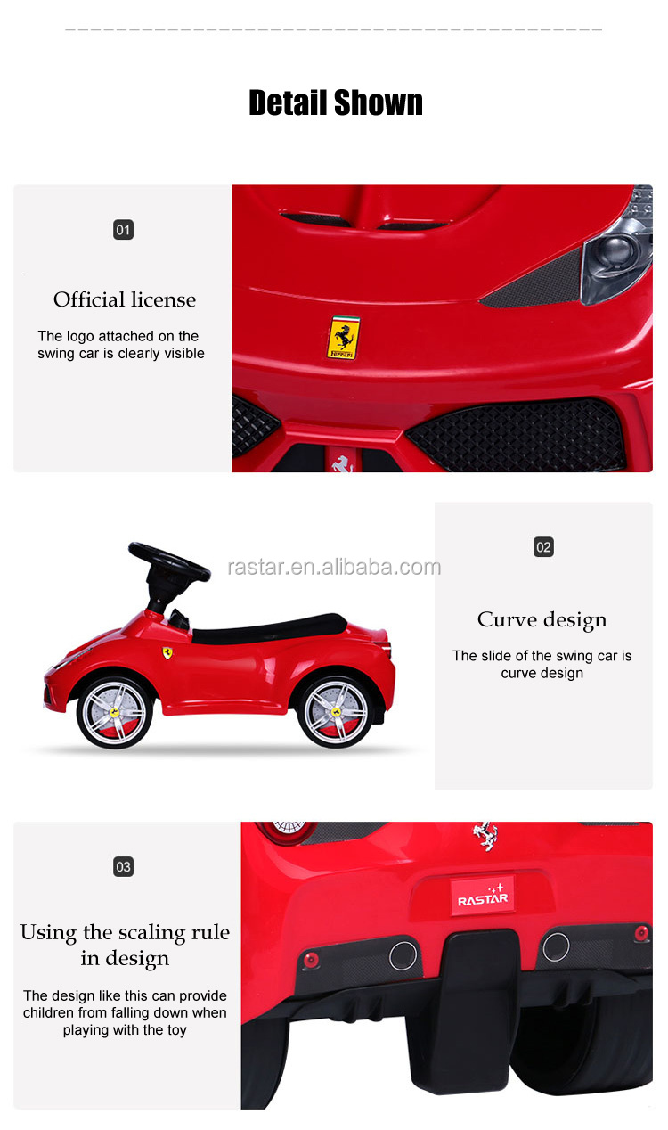 Rastar best toy car Ferrari 458 licensed baby walker