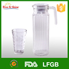 1.0L glass fruit infused water pitcher with lid and handle/glass water pitcher