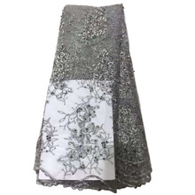 2016 New arrival silver stone french lace/heavy french lace fabric/emboridery french tulle lace HY0381