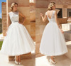 Fashion Wedding Dresses Beatue Lace Shining Sash Covered Button Tea-Length Wedding Dresses Custom Made HS410