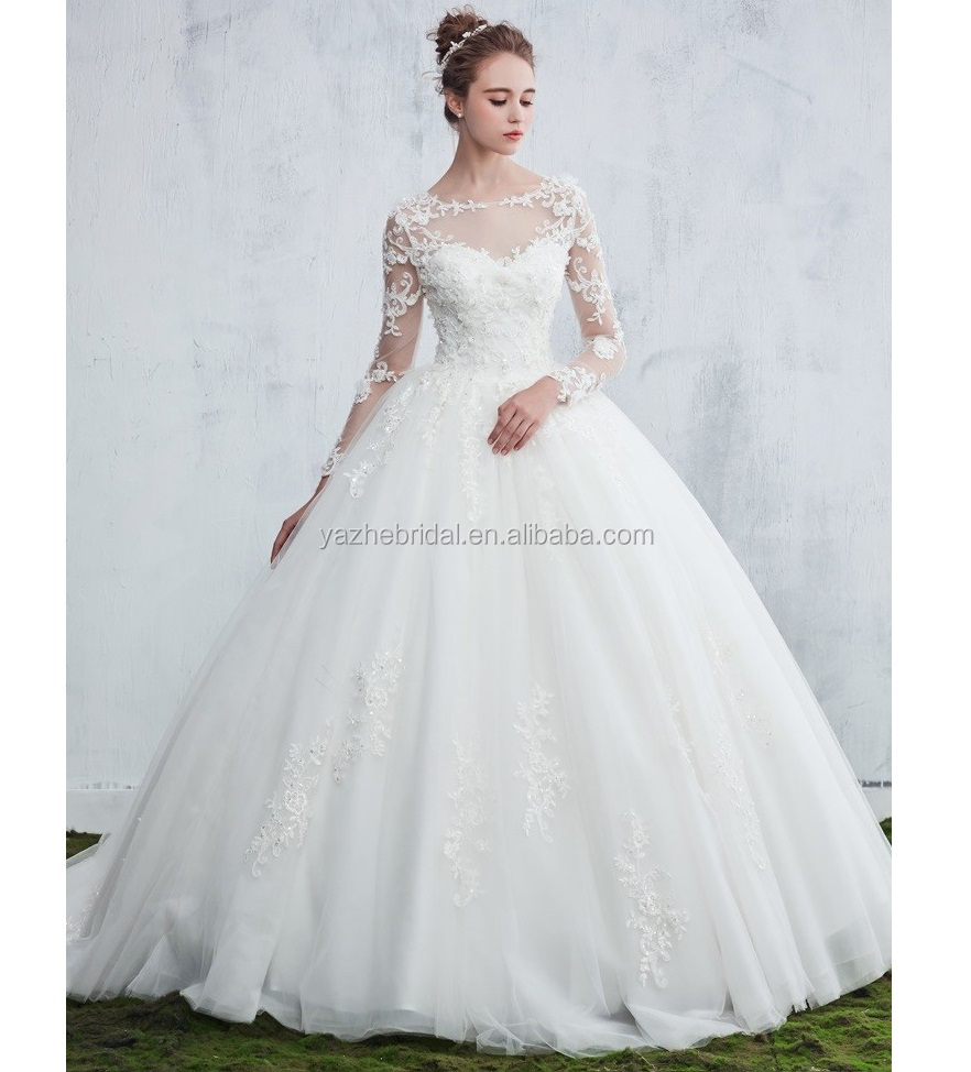 Ball Gown Scoop Neck Tulle Appliques Lace Sweep Train Long Sleeve Beautiful Wedding Dresses