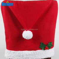 Fleece flet Christmas hat shape chair cover material