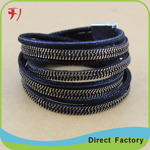 Gold Plating Crucible Black and Charcoal 316L Stainless Steel Braided Leather Bracelet