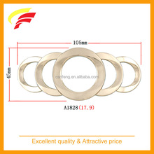 fashion zinc alloy interlink rings belt buckle, metal connecting rings belt buckle for screwed on leather