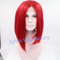 Hot popular natural look short red highlight bob wigs synthetic lace front wig heat resisting wig Synthetic Hair in stock