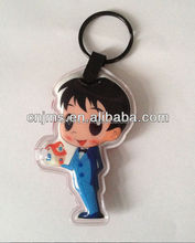 Promotional and souvenir gifts customized shape mini pvc LED keychain/key ring/key chain