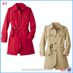 High quality woman waterproof quilted trench coat with belt winter coat