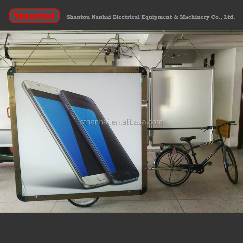 J5 New products hot sell Outdoor acrylic projecting light box sign, LED illuminated backlighting bike advertising trailer