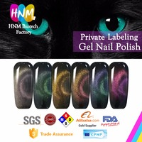 Hot Sale 3D Cat Eye Top Coat No Wipe Soak Off Chameleon Cat Eye Top Coat With 8 Colors For Gel Polish Private Labeling