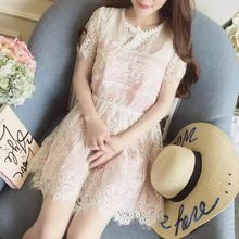 2017 Latest Fashion Elegant Slim Off White Lace Short Sleeve Women Pleated Dress