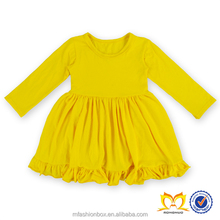 2015 Fall Best Selling Solid Color Ruffle Dresses Little Girls Organic Cotton Dresses Smocked Children Clothing Wholesale
