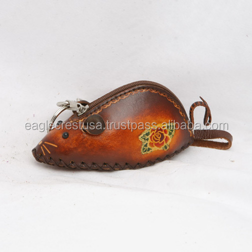 Handmade Leather Mouse Coin Purse
