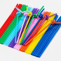 clean plastic straw with various size