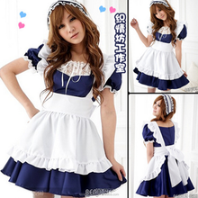 Classic Black And White Maid Cosplay Costumes Sexy Short Halloween Party Dress Stock