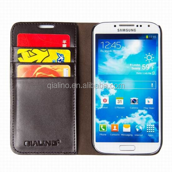 QIALINO 2016 Luxury classic cover Flip Wallet Genuine Real Leather case for samsung galaxy S5