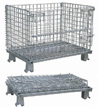 storage stacking metal container/Industrial metal turnover storage box/ industry foldable metal wire mesh storage box